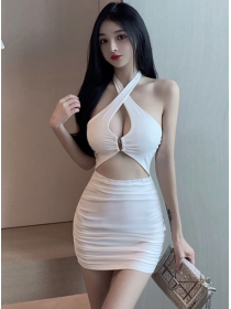 Sexy Women Bust Hollow Out Backless Halter Club Dress