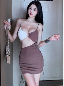 Wholesale Sexy Color Block Hollow Out Skinny Straps Dress