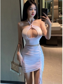 Sexy Korea Bust Hollow Out Draw-string Pleated Dress Set