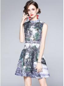 Wholesale Europe High Waist Flowers Tank A-line Dress