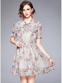 Pretty Women Tie Collar Flouncing Flowers A-line Dress