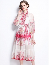 Modern Lady Tie Waist Flowers Puff Sleeve Long Dress