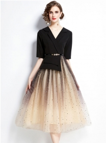 Grace Women Tailored V-neck Stars Gauze Fluffy Maxi Dress