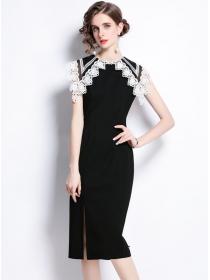 Elegant Lady Lace Doll Collar Bodycon Tank Dress