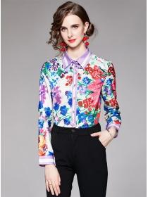 Wholesale Europe Shirt Collar Flowers Long Sleeve Blouse