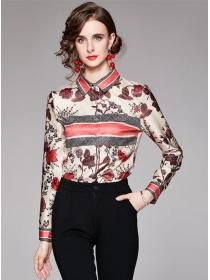 Autumn New Shirt Collar Flowers Long Sleeve Blouse