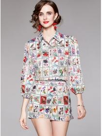 Modern Europe Shirt Collar Stamps Puff Sleeve Short Suits