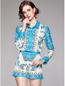 Europe Fashion Shirt Collar Long Sleeve Blouse with Flowers Pants