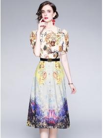 Europe Wholesale Shirt Collar Flowers A-line Dress