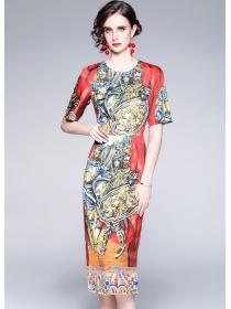 Retro Wholesale Round Neck Fitted Waist Short Sleeve Dress