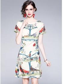 Wholesale Summer Round Neck Flowers Short Sleeve Dress