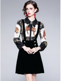 Retro Europe Leopard Splicing Double-breasted Long Sleeve Dress
