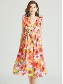 Pretty Summer V-neck Tie Waist Flowers Tank Dress