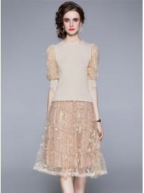 Fashion Women Beads Puff Sleeve Knit Tops with Gauze Skirt