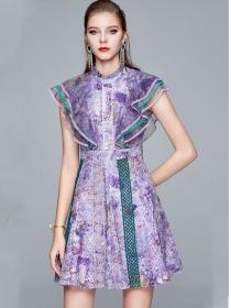 Retro Europe High Waist Flouncing Shoulder Flowers Tank Dress