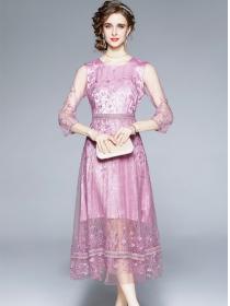 Retro Grace 2 Colors Lace Flowers Splicing Women Dress