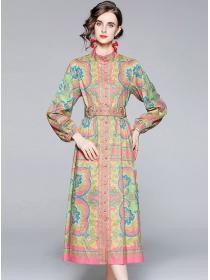 Europe Stylish Belt Waist Flowers Puff Sleeve Long Dress