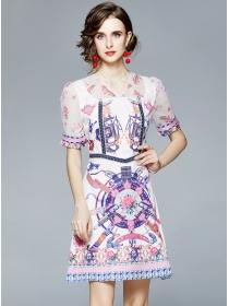 Wholesale Europe V-neck Flowers Puff Sleeve A-line Dress