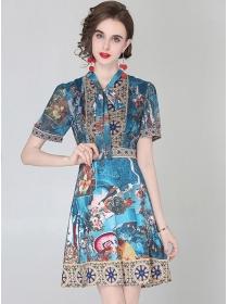 Retro Europe Tie Collar Flowers Short Sleeve Dress