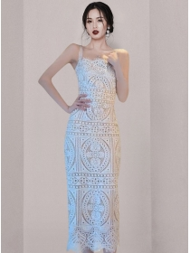 Fashion Women Lace Flowers Hollow Out Straps Long Dress