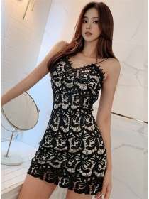 Wholesale Sexy Hollow Out Lace Flowers Straps Dress