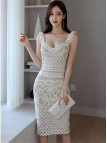 Charming Korea Square Collar Lace Flowers Slim Straps Dress