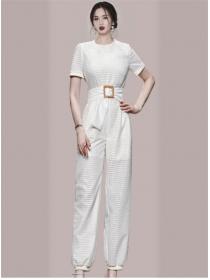 Brand Fashion Belt High Waist Plaids Long Jumpsuits