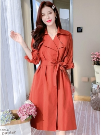 Brand Fashion 2 Colors Tailored Collar Womens Long Coat