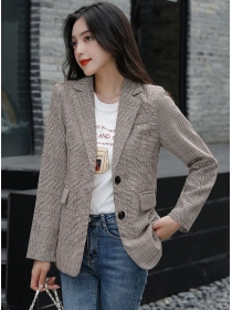 Autumn New Arrive 2 Colors Tailored Collar Plaids Casual Jacket