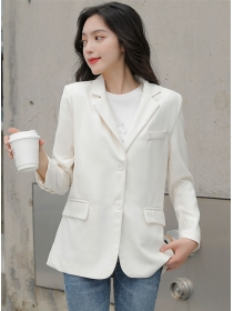 Modern Lady 2 Colors Tailored Collar Casual Short Jacket