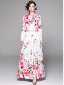 Europe Stylish High Waist Flowers Shirt Maxi Dress
