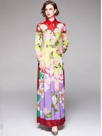 Pretty Autumn Shirt Collar Flowers High Waist Maxi Dress