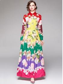 Europe Stylish Flowers Pleated High Waist Shirt Maxi Dress