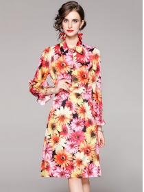 Charming Retro Shirt Collar Flowers Two Pieces Dress