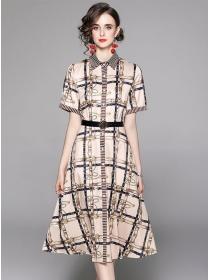 Retro Wholesale Single-breasted Plaids Shirt A-line Dress