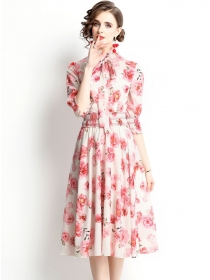 Lovely Fashion Tie Collar Puff Sleeve Flowers A-line Dress