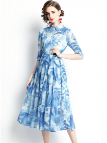 Retro Women Fashion Tie Waist Flowers Shirt Collar Long Dress