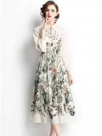 Wholesale Europe Tie Waist Flowers Puff Sleeve Long Dress