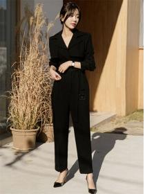 Modern Lady Belt High Waist Tailored Collar Long Jumpsuit