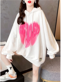 Wholesale Cheap 3 Colors Letters Heart Puff Sleeve Loosen Hoodies
