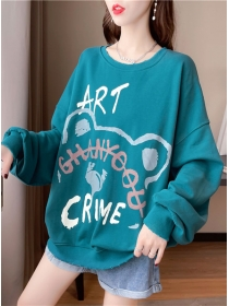 Fashion Girlish 4 Colors Letters Round Neck Cotton Hoodies