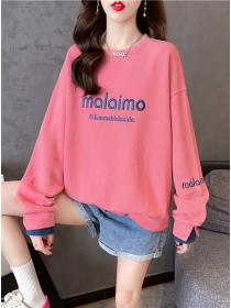 All Match Fashion Round Neck Letters Loosen Hoodies
