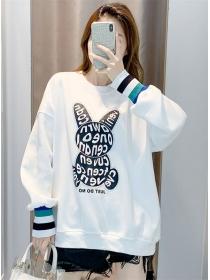 Preppy Fashion Rhinestone Rabbit Loosen Cotton Hoodies