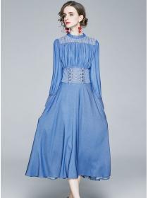 Retro Europe Beads Collar Tie Waist Denim Long Dress