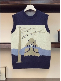 Lovely 2 Colors Cartoon Printings Plus Size Knitting Vest