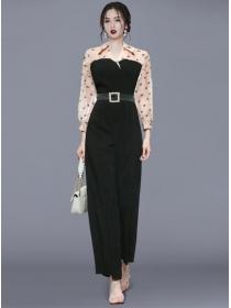 Modern Lady Shirt Collar High Waist Puff Sleeve Long Jumpsuit