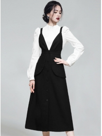 Autumn Long Sleeve Blouse with Single-breasted Straps Dress