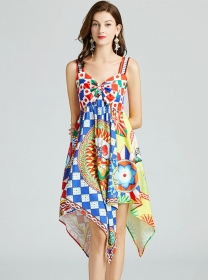 Pretty Europe Bowknot Bust Flowers Straps A-line Dress