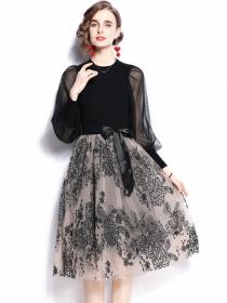 Europe Stylish Knit Splicing Gauze Sleeve Flowers Fluffy Dress