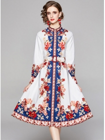 Retro Women Fashion Belt Waist Flowers Long Sleeve Dress